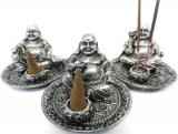 Silver happy buddha incense holder x3 9cm