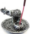 Round silver elephant incense holder 8.50cm