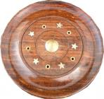 Porta incenso in legno rotondo da sole 10cm