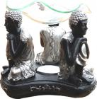 3 black thinking buddhas oil burner