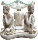 3 white thinking buddhas oil burner