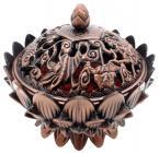 Incenso bruciatore resina tibetano loto rame 9cm