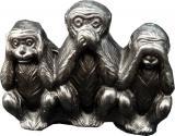Scimmie di saggezza in resina nera incenso a 4 porte 5,50 cm