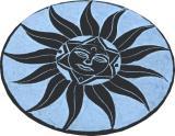Round black & grey saponite incense holder sun 10cm