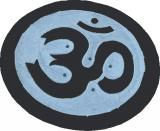 Porta incenso in pietra saponite tondo nero & grigio om 10cm