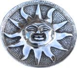 White metal sun antique incense holder 9cm