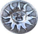 Porta incenso in metallo bianco rotondo antico sole 9cm