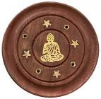 Wooden round incense holder Buddha 7,5cm x12