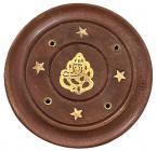 Wooden round incense holder Ganesha 7,5cm x12