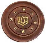 Wooden round incense holder Lotus 7,5cm x12