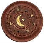 Wooden round incense holder Moon 7,5cm x12