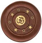 Wooden round incense holder Om 7,5cm x12