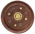 Wooden round incense holder Sun 7,5cm x12