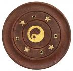 Wooden round incense holder Ying Yang 7,5cm x12