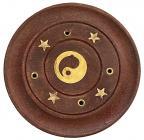 Porte encens en bois rond Ying Yang 7,5cm x12