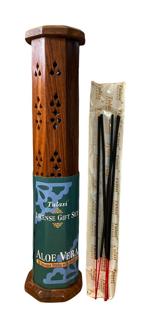 Elephant wooden tower incense holder 30cm with 20 incense sticks Tulasi Aloe Vera