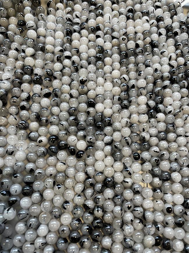 Perline di Cristallo di rocca Tormalina A da 6mm su filo da 40cm