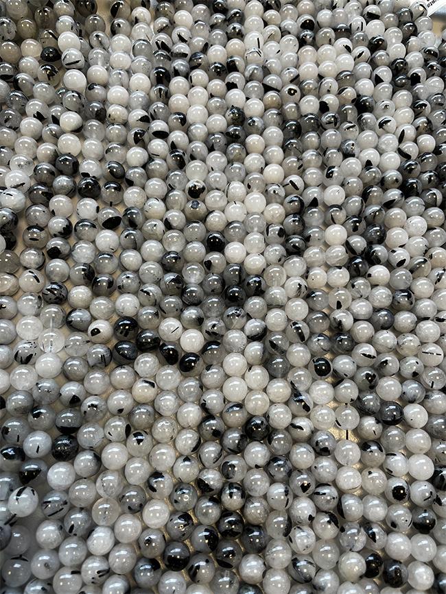 Perline di Cristallo di rocca Tormalina A da 8mm su filo da 40cm