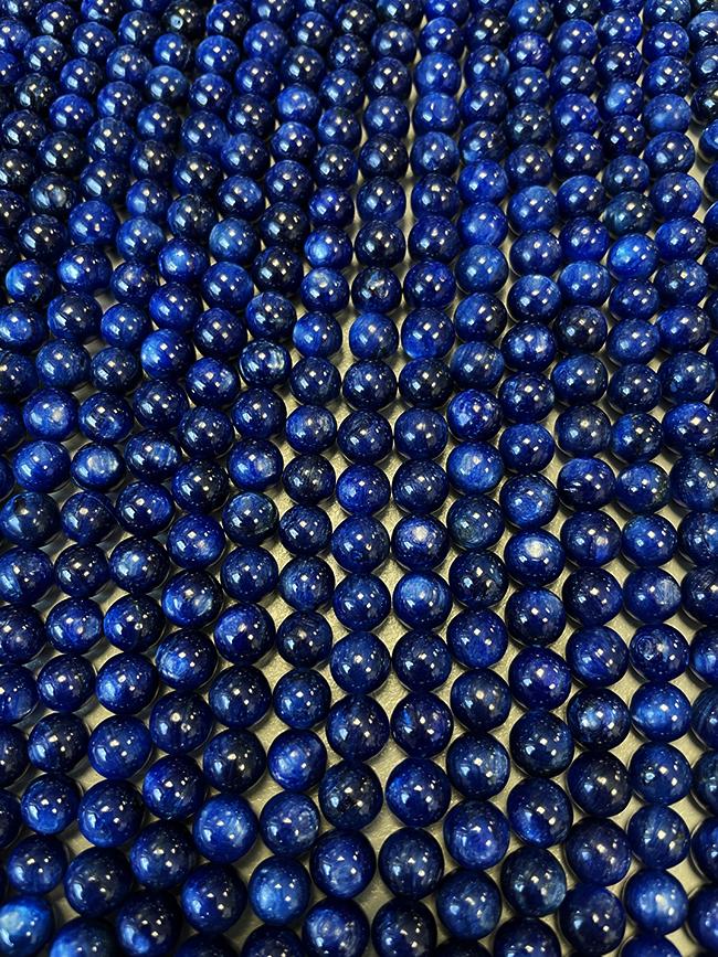 Blue Kyanite AAA 6mm pearls on string