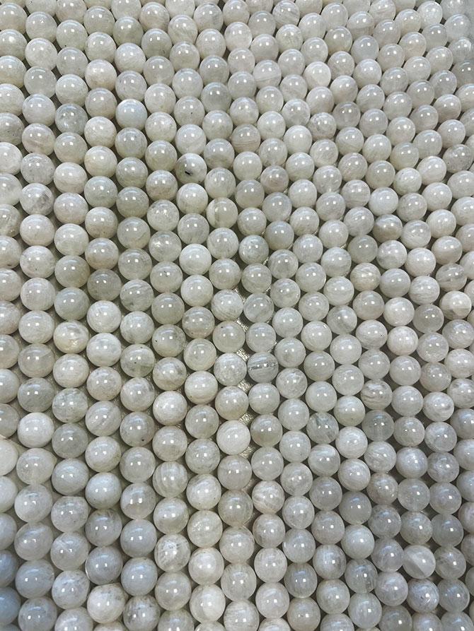 Perline di Pietra Lunare Peristerite A da 10mm su filo da 40cm