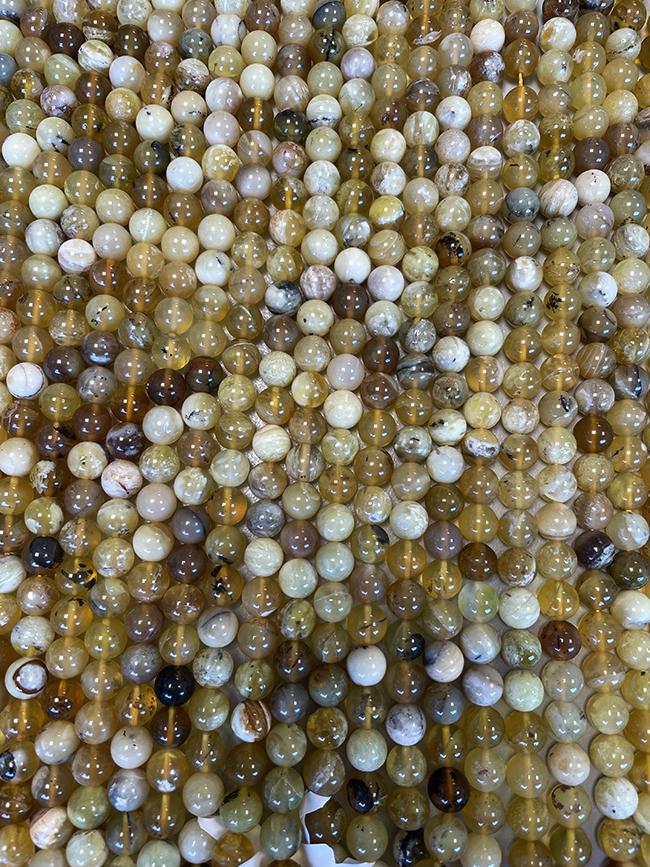 Perline di Opale giallo da 6mm su filo da 40cm