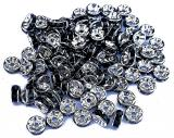 Black rhinestone spacer 6mm x100