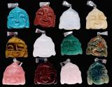 Set of 12 buddha stone pendants