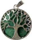 Aventurine metal & stone tree of life pendant 3cm