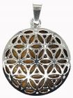 Metal Pendant Flower of Life Tiger Eye 3cm