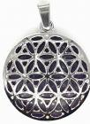 Metal Pendant Flower of Life Amethyst 3cm