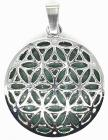 Metal Pendant Flower of Life Green Aventurine 3cm