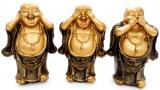 Set of 3 golden wisdom happy Buddhas 14cm