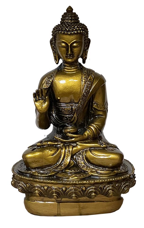Bouddha Méditation résine Or Antique 20cm