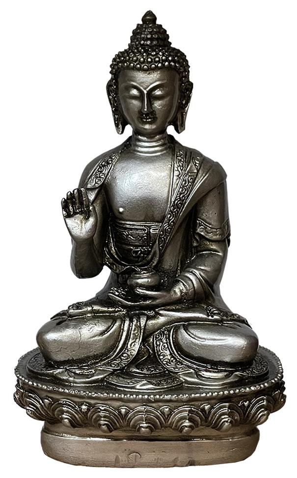 Bouddha résine Argent Antique 20cm