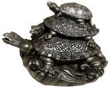 Statua Turtle Prosperity resina Argento antico 12cm