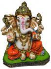 Resin Ganesha Green & Orange 20cm