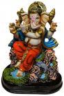 Ganesh en résine jouant de la flûte Rouge & Bleu 20cm