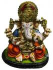 Resin Ganesha Green & Orange 17cm