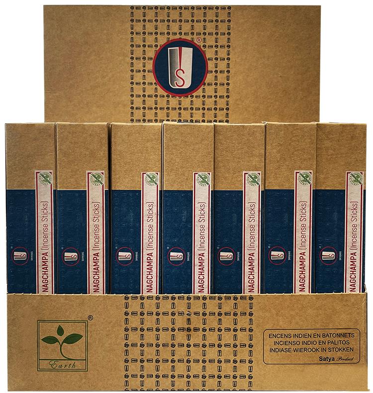 Satya Blue Nag Champa incense stand 42 packs of 15g