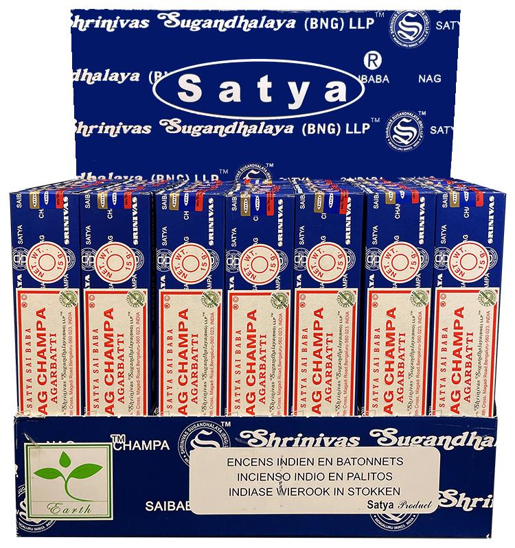 Satya Nag Champa incense stand 42 packs of 15g