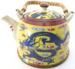 Yellow porcelain teapot with blue dragon