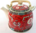 Red chineese porcelain teapot