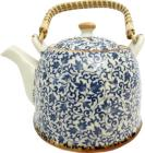 Blue chineese porcelain teapot with leafs