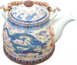 Théière creme dragon bleu porcelaine