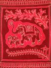 Tenture Batik Deux Elephants Rouges