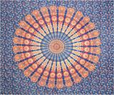 Mandala bedsheet dark blue light blue orange & red