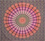 Mandala bedsheet purple orange green & fushia