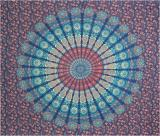 Mandala bedsheet dark blue light blue & red