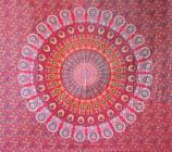 Mandala bedsheet red yellow & light green