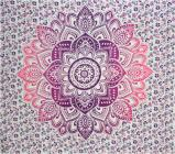 Lotus bedsheet white purple light purple and fushia